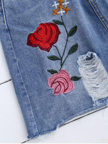 Sale Rose Embroidered A Line Ripped Jean Skirt - L DENIM BLUE Mobile