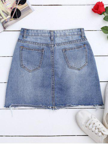 Best Rose Embroidered A Line Ripped Jean Skirt - L DENIM BLUE Mobile