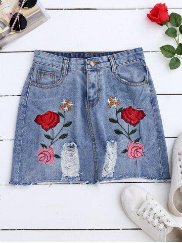 Rose Embroideried A Line Ripped Jean Skirt - DENIM BLUE XL