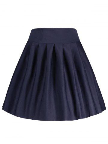 Sale A Line High Waisted Mini Skirt - S DEEP BLUE Mobile