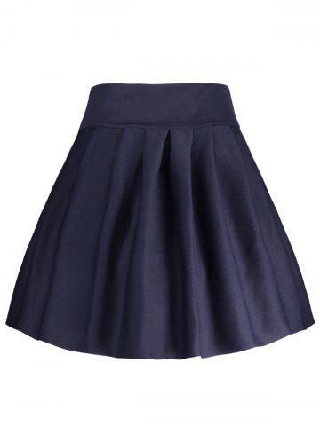 Cheap A Line High Waisted Mini Skirt - S DEEP BLUE Mobile