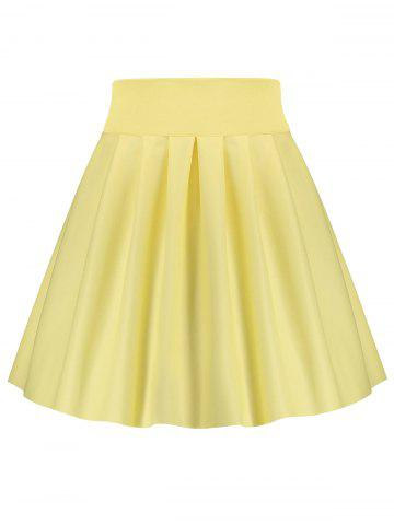 A Line High Waisted Mini Skirt - Yellow - Xl