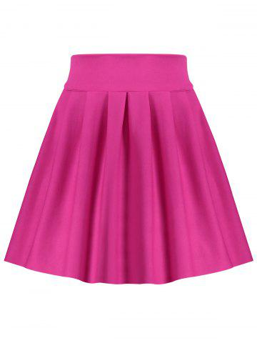 A Line High Waisted Mini Skirt Rose Rouge S