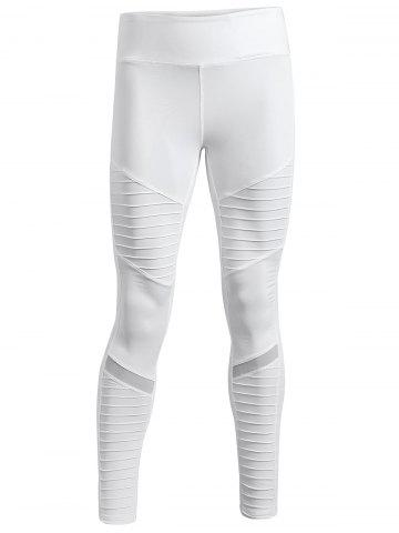 Pleated Skinny Mesh Insert Leggings - White - S