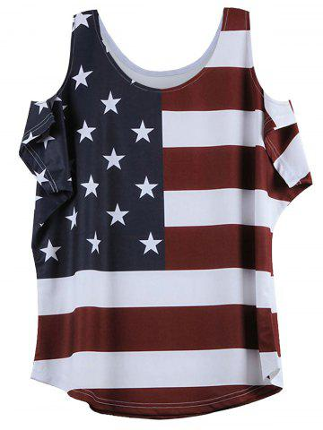 Outfit Distressed American Flag Pattern Cold Shoulder T-Shirt WINE RED XL