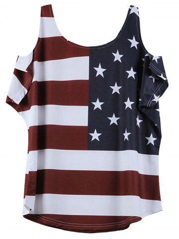 New Distressed American Flag Pattern Cold Shoulder T-Shirt - XL WINE RED Mobile
