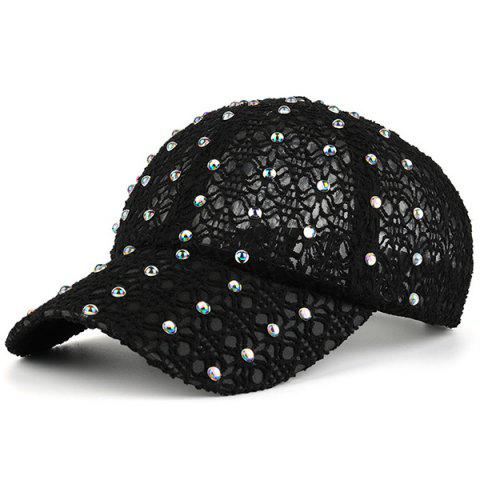 Shops Lace Hollow Out Mesh Hot Drilling Hat BLACK