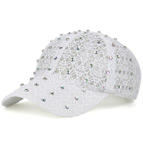 Outfits Lace Hollow Out Mesh Hot Drilling Hat WHITE