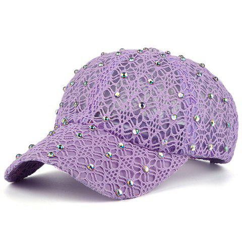 Buy Lace Hollow Out Mesh Hot Drilling Hat LIGHT PURPLE