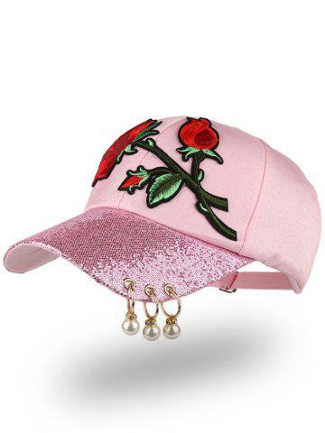 Trendy Bespangling Rose Embroidered Faux Pearl Circles Baseball Hat