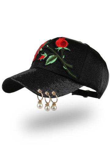 Sale Bespangling Rose Embroidered Faux Pearl Circles Baseball Hat BLACK