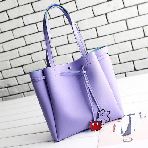 Store Faux Leather Drawstring Shoulder Bag PURPLE