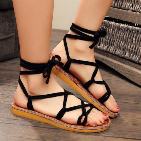 Shop Lace Up Flat Heel Sandals BLACK 37
