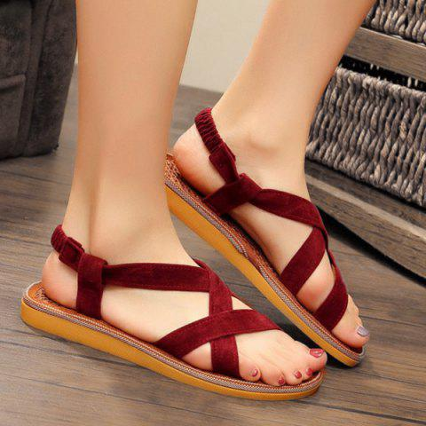 Outfit Elastic Band Flat Heel Sandals WINE RED 39