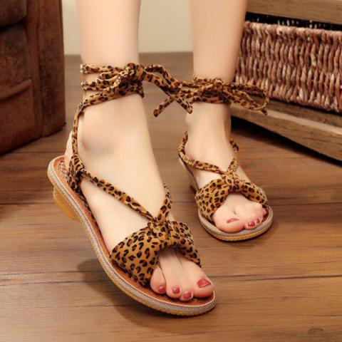 Store Lace Up Leopard Print Flat Sandals
