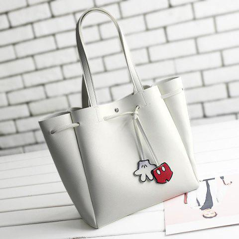 Fancy Faux Leather Drawstring Shoulder Bag - WHITE  Mobile