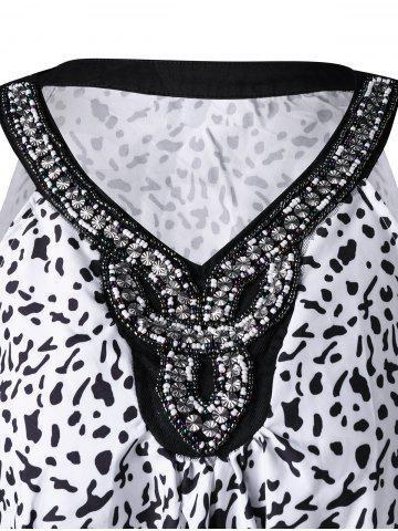 Latest Plus Size Beading Embellished Tank Top - 3XL WHITE AND BLACK Mobile