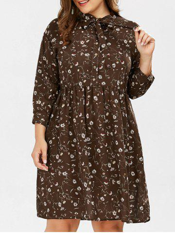 Daisy Floral Pussy Bow Plus Size Shirt Dress - Deep Brown - 2xl