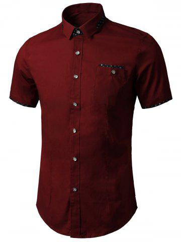 Printed Insert Pocket Shirt - WINE RED 5XL