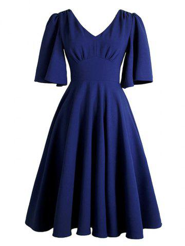 Buy V Neck Swing Vintage Dress DEEP BLUE S