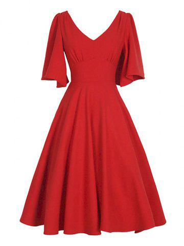 Fancy V Neck Swing Vintage Dress RED 2XL