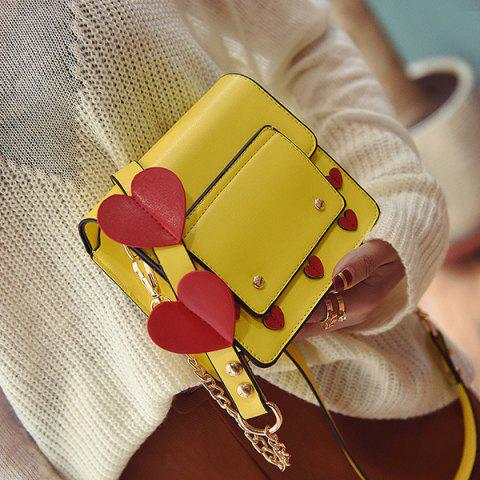 Unique Heart Patches Chain Crossbody Bag YELLOW