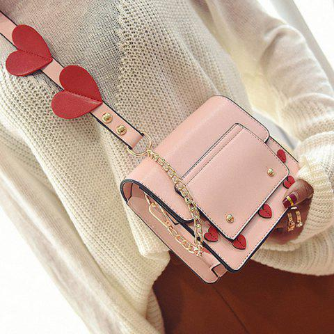 Best Heart Patches Chain Crossbody Bag PINK