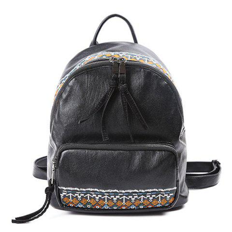 Outfits Ethnic Embroidery PU Leather Backpack