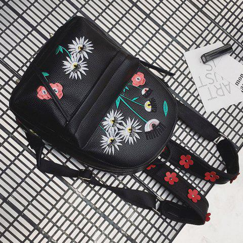 Outfit Faux Leather Floral Embroidered Backpack - BLACK  Mobile