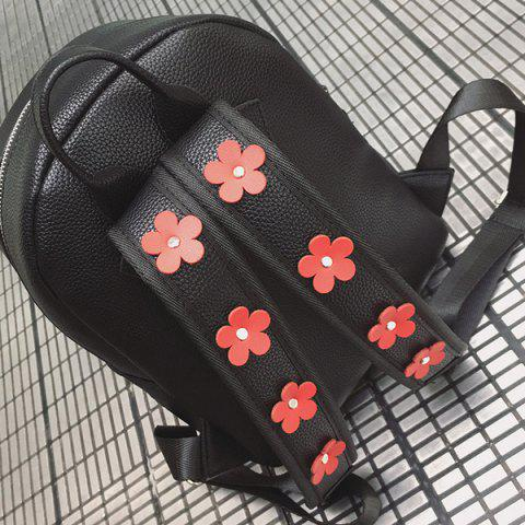 Online Faux Leather Floral Embroidered Backpack - BLACK  Mobile