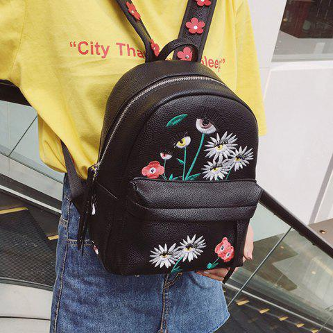 Store Faux Leather Floral Embroidered Backpack - BLACK  Mobile