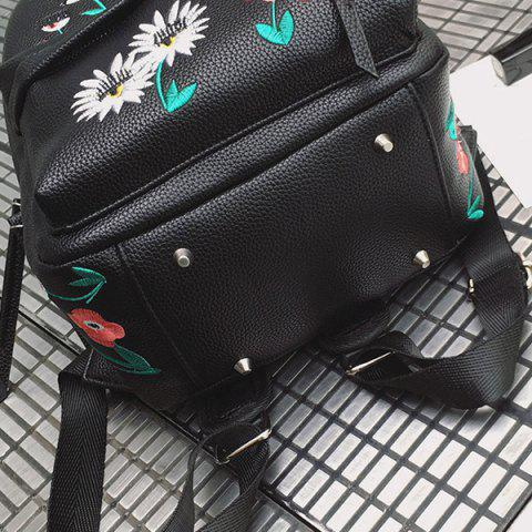 Latest Faux Leather Floral Embroidered Backpack - BLACK  Mobile