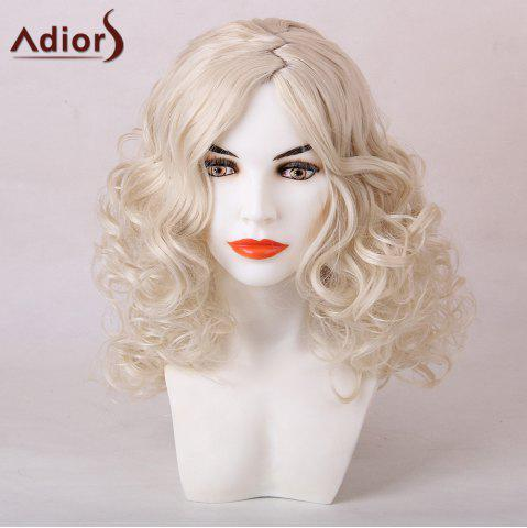 Outfit Adiors Medium Zigzag Side Parting Shaggy Curly Synthetic Wig WHITE