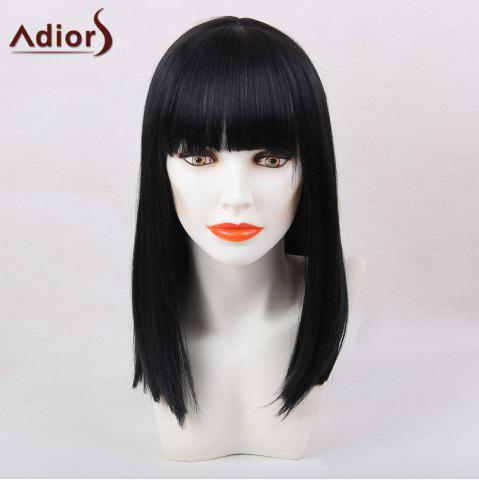 Latest Adiors Full Bang Medium Silky Straight Synthetic Wig - BLACK  Mobile