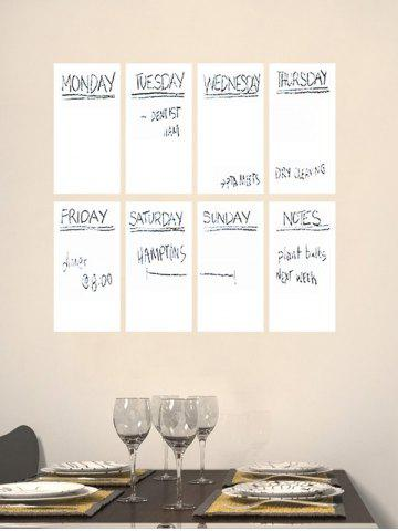 Best Weekly Schedule White Board 8PCS A4 Wall Stickers with Pen - WHITE  Mobile