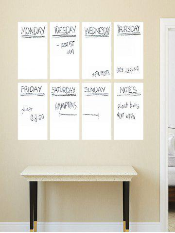Fancy Weekly Schedule White Board 8PCS A4 Wall Stickers with Pen - WHITE  Mobile