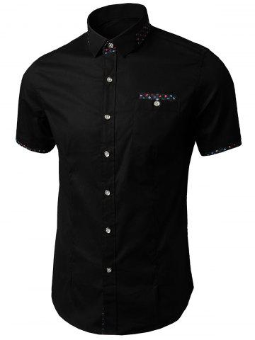 Outfits Printed Insert Pocket Shirt BLACK 5XL