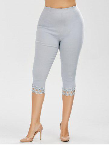 Chic Plus Size Lace Trim High Waist Capri Leggings - 5XL ICE BLUE Mobile