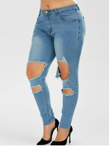 Online Plus Size Skinny Ripped Jeans - 2XL DENIM BLUE Mobile