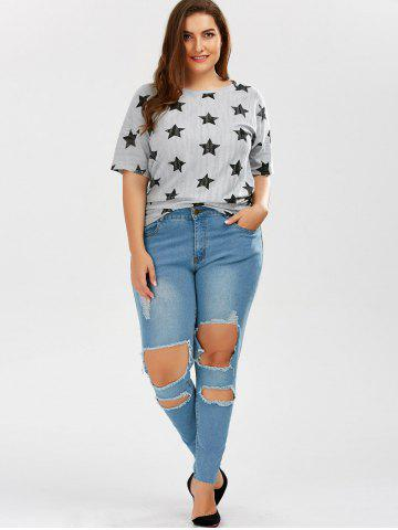 Affordable Plus Size Skinny Ripped Jeans - 2XL DENIM BLUE Mobile