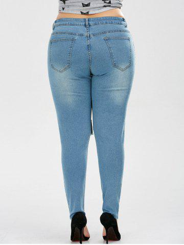 Latest Plus Size Skinny Ripped Jeans - 2XL DENIM BLUE Mobile