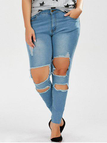 Outfit Plus Size Skinny Ripped Jeans - 2XL DENIM BLUE Mobile
