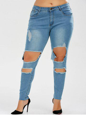Buy Plus Size Skinny Ripped Jeans DENIM BLUE 2XL