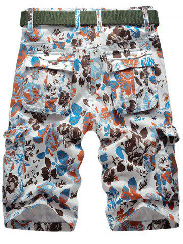 Outfits Floral Pattern Zip Fly Cargo Shorts - 34 JACINTH Mobile