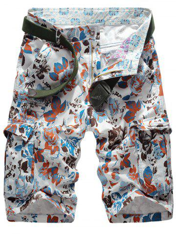 Latest Floral Pattern Zip Fly Cargo Shorts - 34 JACINTH Mobile
