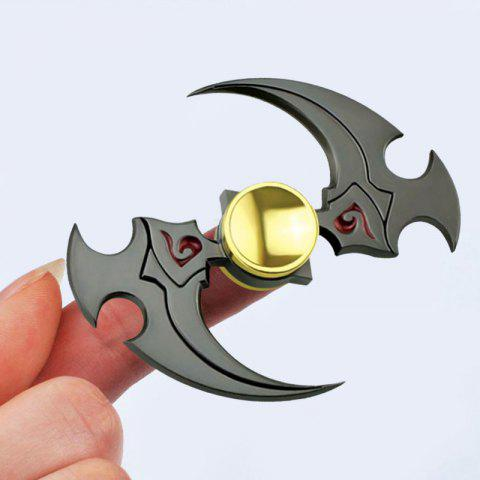 Discount Sickle Shaped Stress Relief Toy Alloy Finger Fidget Spinner GUN METAL 6.5*6.5CM