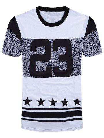 Number and Star Print Short Sleeve T-Shirt - White And Black - 2xl
