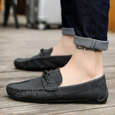Latest Stitching Crack Pattern Casual Shoes - 40 BLACK Mobile