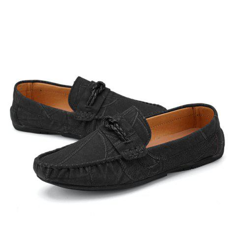 Fancy Stitching Crack Pattern Casual Shoes - 40 BLACK Mobile