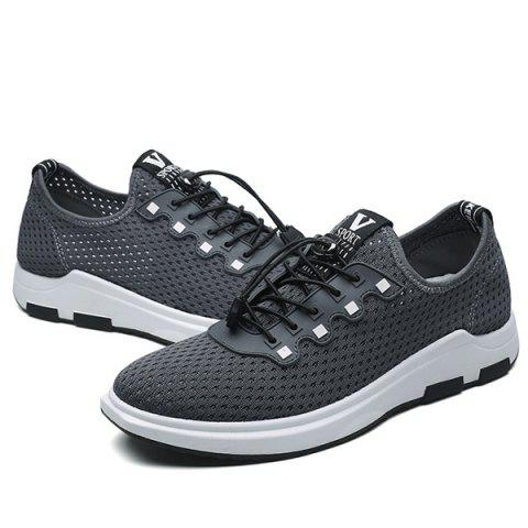 Sale String Mesh Casual Shoes - 40 GRAY Mobile